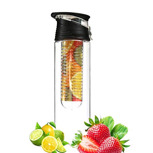 WEIXINMWP 700ml, 800 ml Fruta portátil Infusionamiento Infusor Botella de Agua Deportes Zona de Jugo de limón Tapa de Giro para Mesa de Cocina Viajes de Camping al Aire Libre,5,800ml
