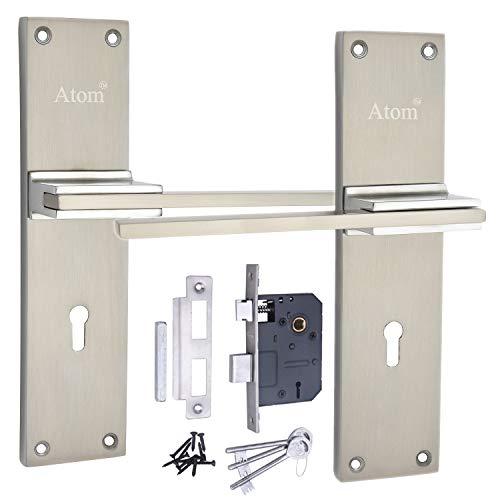 Atom Mortise Door Handle Set with Lock Body   Silver Satin Finish   3 Keys   6 Lever Double Stage Lockset for Door, Bedroom,...