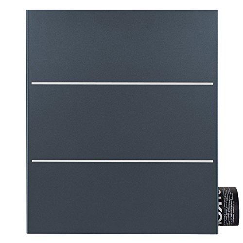 Briefkasten anthrazit mit Zeitungsfach (RAL 7016) MOCAVI Box 141R Postkasten Edelstahl-Detail V2A Öffnung links Wand-Briefkasten mit Zeitungsrolle groß modern deutsche Marken-Qualität DIN A4