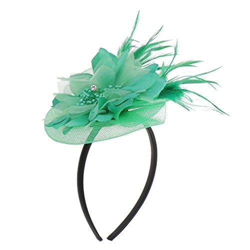 Hochzeit Damen Feder Fascinator Haarreif Blume Schleier Hut Kopfband Haar-Accessoires - Grün