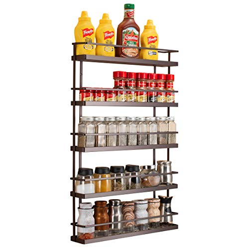 5 Tier Wall Mount Spice Rack OrganizerPantry Cabinet Door Spice Shelf Storage
