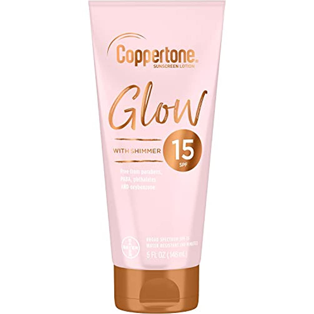 Coppertone Glow Hydrating Sunscreen Lotion with Illuminating Shimmer Minerals and Broad Spectrum SPF 15, Water-resistant, Fast-drying, Free of Parabens, PABA, Phthalates, Oxybenzone, 5 Fl Oz