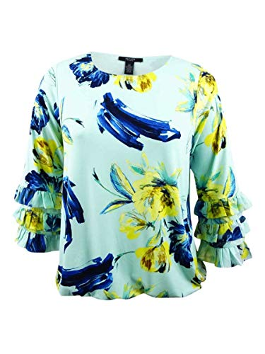 Alfani Womens Plus Tiered Nocturnal Flower Blouse Green 2X