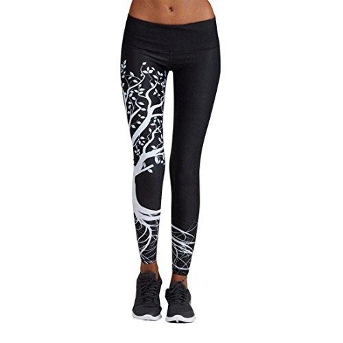 SHOBDW Leggings Hose Yogahose Damen Sport-Leggings Jogginghose Printed Streifen Hüfthose Strumpfhose Leggins Hose Strumpfhose Schwarz Workout Stretch High Elastic Yoga Hosen Pants (XXL, Schwarz-2)