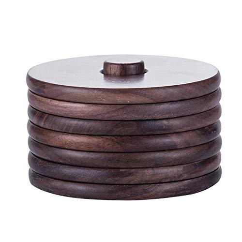 Untersetzer für Tee und Kaffee, aus Holz, mit Halterung, handgefertigt, für Zuhause/Büro, Tischdekoration, rund.