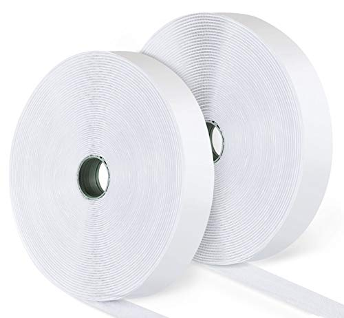 ilauke 15M Hook y Loop Auto Adhesivo Cinta Rollo Hook and Loop Tape Gancho y Bucle(Blanco)