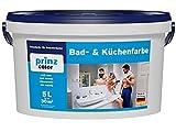 prinzcolor Premium Bad & Küchenfarbe Badfarbe Küchenfarbe Feuchtraumfarbe Weiß 5l