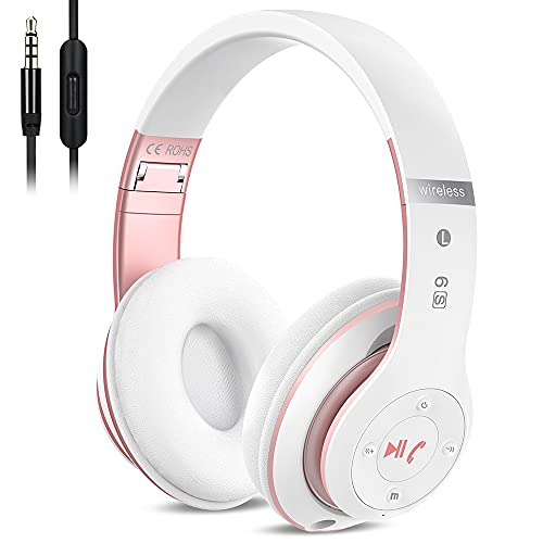 6S Over-ear Wireless Cuffie, Cuffie Wireless Bluetooth Cuffie Wireless Stereo Pieghevoli ad Alta Fedeltà, Microfono Incorporato, Micro SD TF, FM