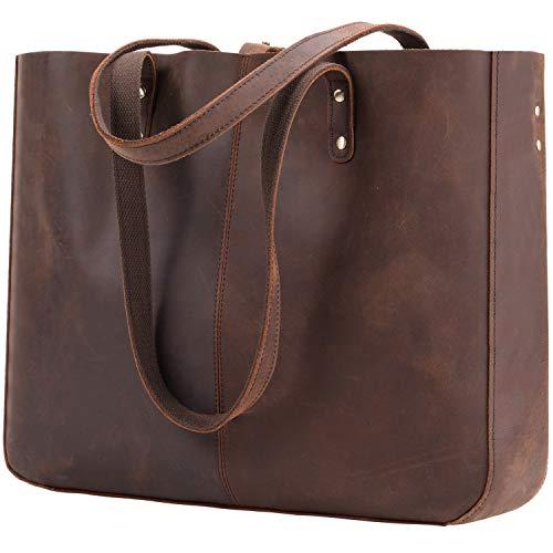 Vintage Genuine Leather Tote Bag for Women Large Shoulder Laptop Purse Bag Crazy Horse Leather Work Tote Handbag with Back Pocket Dark Brown