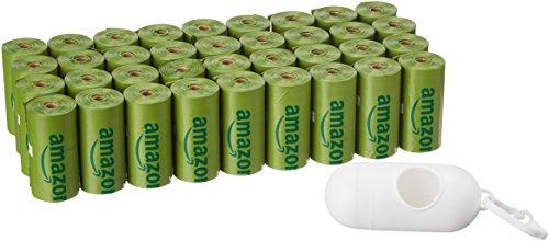 Amazon Basics - Bolsa mejorada para heces de perro con aditivos EPI y dispensador y pinza para correa - 540 unidades, pepino
