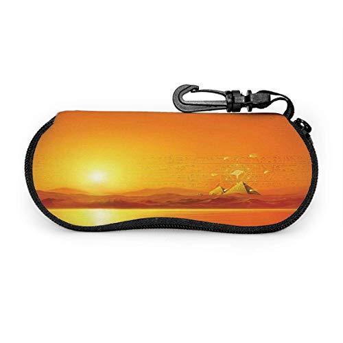 Estuche para anteojos Vintage Egipto Orange Words Estuche para gafas Estuche para gafas de sol de viaje portátil resistente a los arañazos Concha