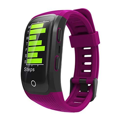 ZXQZ Relojes de Pulsera Reloj Inteligente, Monitor de Actividad Física con Pantalla A Color, Pulsera Inteligente IP68 A Prueba de Agua, con Pulsera Deportiva GPS Watches (Color : Purple)