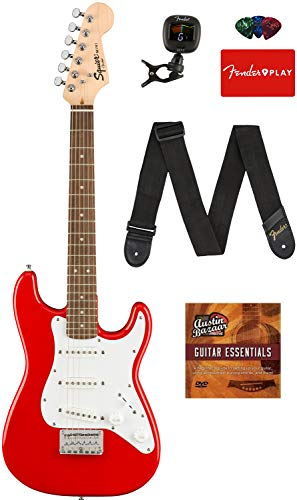 Fender Squier 3/4 Size Kids Mini Strat Electric Guitar - Red Bundle with Tuner, Strap, Picks, Fender Play Online Lessons, and Austin Bazaar Instructional DVD