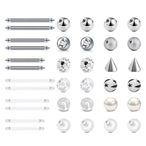 LAURITAMI 24pcs Piercing Bolas Reemplazo Acero Quirúrgico & Acrílico 5mm 14G Lengua Ombligo Pezón Industrial Barras Barbell Cuerpo Joyas