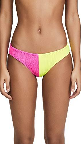 PQ Swim Women's Two Tone Bikini Bottoms, Pineapple Reef, Yellow, Pink, Medium