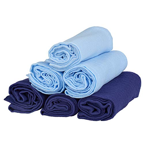 Family-Kollektion 6er Pack Mullwindeln bunt I hautfreundliches & angenehm weiches Schmuse-Tuch I Spucktücher Baby aus 100% Baumwolle I 6 Stück Baumwoll-Tücher 70 x 80 cm (Blau/Dunkelblau)