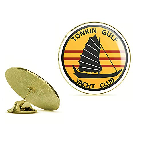 HOF Trading Gold US Navy Tonkin Gulf Yacht Club Patch Military Veteran Served Gold Lapel Pin Tie Suit Shirt Pinback