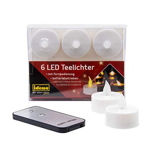 Idena - 6 Stück LED Teelichte mit Fernbedienung, Elektrische Kerzen mit Flackerndem Licht, inklusive Batterien, Deko für Hochzeit, Party, Weihnachten, Ostern, als Stimmungslicht