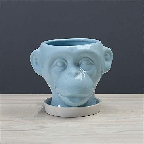 Maceta Animal cerámica flor maceta de dibujos animados mono maceta de cerámica con bandeja animal suculenta maceta mini bonsai contenedores casero jardín de escritorio decoración con agujero de drenaj