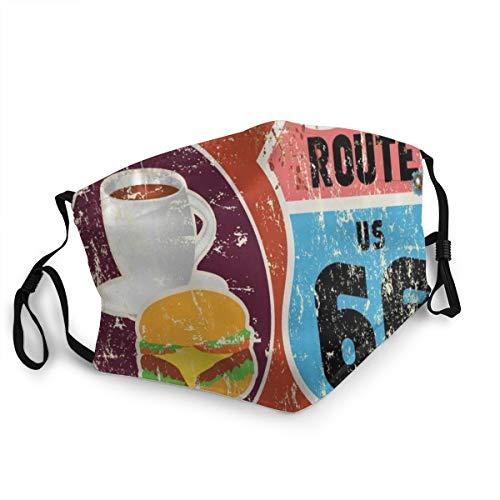 CONICIXI Route 66 American Diner Altmodisches Schild Hauptstraße von Amerika Reise Berühmtes Abenteuer Staubwaschbarer wiederverwendbarer Mund Warmes winddichtes Baumwollgesicht