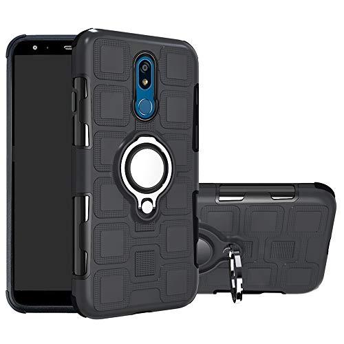 LFDZ LG K40 Funda, 360 Grados Giratorio Ring Grip con Gel TPU Case Carcasa Fundas para LG K40 / K12 / K12 Plus Smartphone,Negro