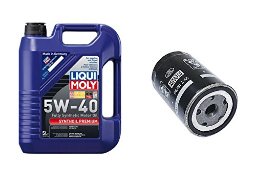 Liqui Moly 2041 Premium 5W-40 Synthetic Motor Oil - 5 Liter Jug + 1 Engine Oil Filter Mann 06A115561BMN / 06A115561B / W719/30 Audi 90 100 200 A6 Volkswagen Beetle Cabrio Jetta S4 S6 TT