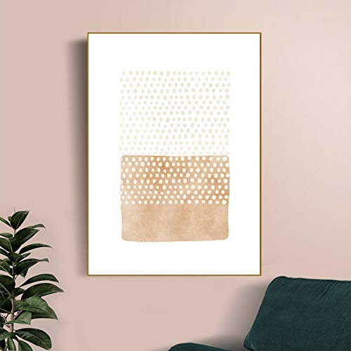 Wall Art Print Canvas Beige Abstract Grey Neutral Color Earth Tone Geometric Painting Poster Boho Living Room Wall Decor (70x90cm) Unframed