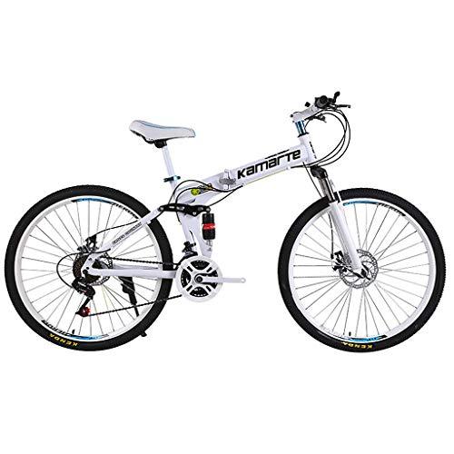 Eariy 24 Zoll klappfahrrad,Mountainbike mit hochfester Stahlklapprahmen,Stoßdämpfung Fahrrad,Kleines tragbares cityfahrrad für Erwachsene Jugend Männer Frauen (Weiß)