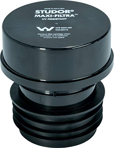 Studor 20297 Maxi-Filtra Septic Tank Drain Vent Two-Way Active Carbon Filter, 3- or 4-Inch Connection (Drain Vent Valve)