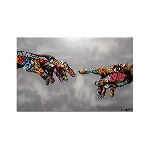Modern Canvas Schilderij Graffiti Hand In Hand Poster En Prints Kleurrijke Hand Ingelijste Schilderij Popart Wanddecoratie Voor De Woonkamer 50 * 75cm