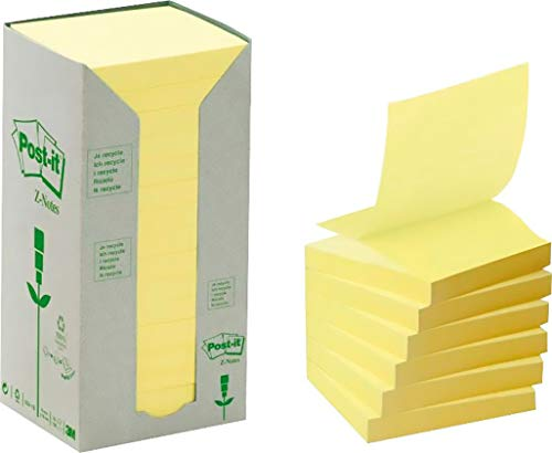 Post-it R3301T Haftnotiz Recycling Z-Notes Tower 654 (76x76 mm, 70 g/qm) 100 Blatt à 16 Block, gelb