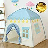 Kids Play Tent Castle Large Teepee Tent Kids princess castle play tent 600D Oxford Fabric Children Playhouse for Indoor Outdoor with Carry Bag Portable Playhouse Boys & Girls Birthday Gift (star blue)