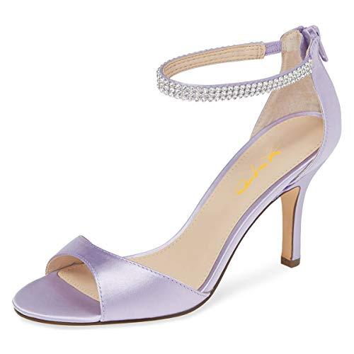 XYD Damen-Sandalen mit offenem Zehenbereich, Strass, Knöchelriemen, schmal, hoher Absatz, Satin, Abendkleid, Sandalen, Violett (lavendel), 43 EU