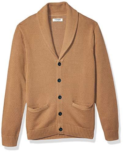 Amazon Brand - Goodthreads Men's Soft Cotton Shawl Cardigan, Camel Large