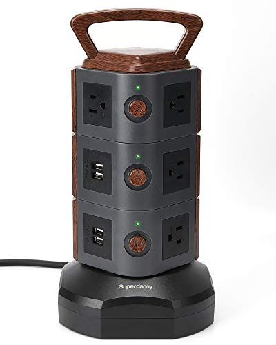 powerful SUPERDANNY Vertical Surge Protective Charging Station (10 Sockets 4 USB…)