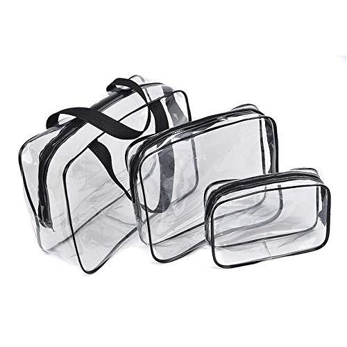Clear Toiletries Bag, Eagool 3 in 1 Waterproof Toiletry Travel Bag Clear PVC Travel Bag Wash Bag Makeup Bag Travel Business Bathroom for Men, Women and Kids