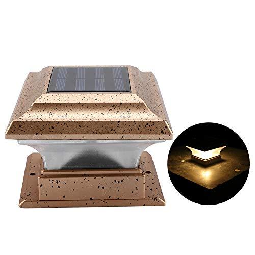 Riuty Angetriebene Zaun-Pfosten-Lampe, ABS-Sicherheit im Freien Wasserdichte Hausgarten-Pfosten-Plattform-Licht für Garten, Landhaus, Hof(Warm Light)