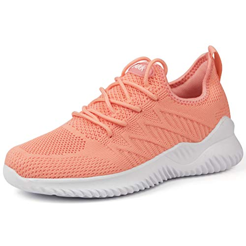 Akk Womens Casual Walking Shoes - Breathable Mesh Work Slip-on Comfortable Work Travel Sneakers Peach Size 10