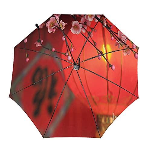 Linterna tradicional y paraguas plegable de viaje de ciruelo portátil compacto y ligero diseño automático y alta resistencia al viento
