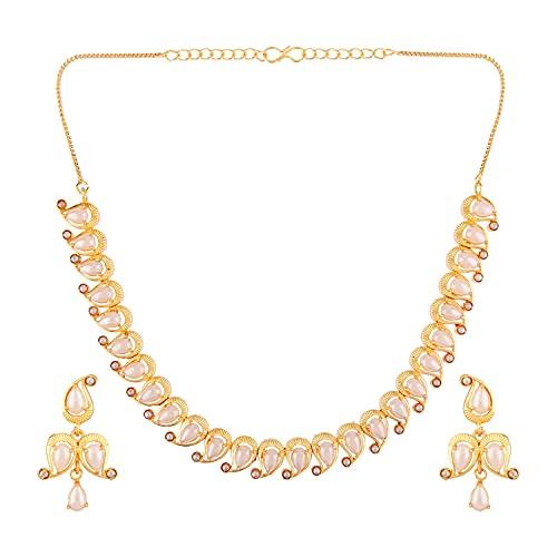 Efulgenz Juego de gargantilla, collar y pendientes con diamantes de imitación chapados en oro de Bollywood, Metal Cobre, desconocido,