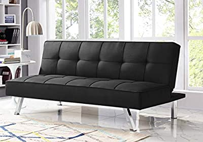 Serta Convertible Rane Futon Sofa, Linen Fabric Upholstery with Chrome Legs, Multi-Fuctions Living Room Sofa