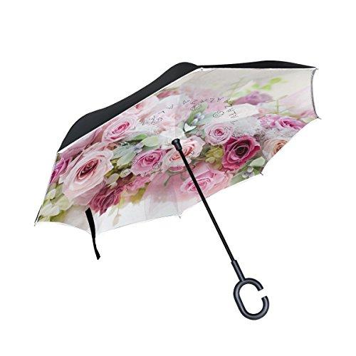isaoa Große Schirm Regenschirm Winddicht Doppelschichtige seitenverkehrt Faltbarer Regenschirm für Auto Regen Außeneinsatz,C-förmigem Henkel Regenschirm Blume Romantische Love Regenschirm