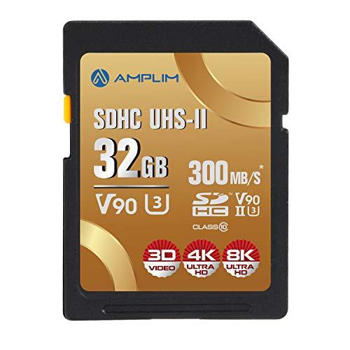 Amplim 32GB UHS-II V90 SDXC SD Karte - Blazing Fast 300MB/s (2000X) UHSII U3 Extreme High Speed 32GB SD XC Speicherkarte für 4K 8K UHD Videokamera Camcorder 32G TF Flash Speicher - Neu September 2019