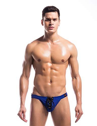 Mongous Men's Athletic Supporter Jockstrap Elastic Waistband T-Back Underwear Blue