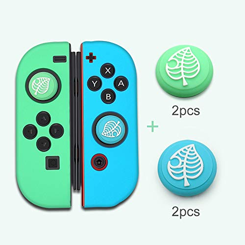 ZYLFN 2 Pair Ersatz Silicone Thumb Grip Stick, Animal Crossing Analog Joystick Grips Caps Cover, Thumbsticks Für Playstation PS4 PS3 Xbox One Nintendo Game Controllers,Joy Con Controller case