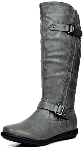 DREAM PAIRS Women's Trace Grey Faux Fur-Lined Knee High Winter Boots Size 11 M US