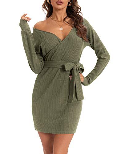 QUALFORT Damen Kleider Elegant Strickkleid V-Ausschnitt Langarm Tunika Kleid Minikleid Mit Gürtel Armeegrün XL