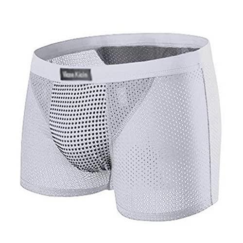 FJL 3 Piezas Seda de Hielo Ropa Interior con Imán Hombres Calzoncillos Boxer Cuidado de La Salud de La Terapia Magnética Respirable Sexy Comodidad (Color : Grey, Size : 4XL)