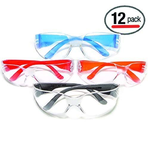 Ultimate UV Protection, Scratch Resistant Clear Lenses Safety Glasses, Pack of 12
