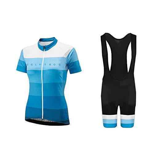 Uglyfrog Ropa de Ciclismo para Mujer Traje de Bicicleta Conjunto de Verano Top de Verano + Culotte Corto